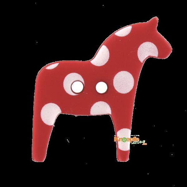 Kinderknopf - `Dala-Pferdchen`- Rot