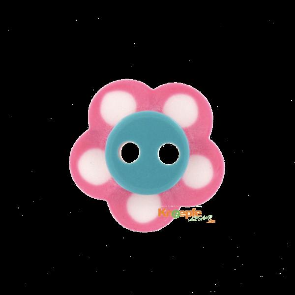 Kinderknopf `Blümchen`- Pink