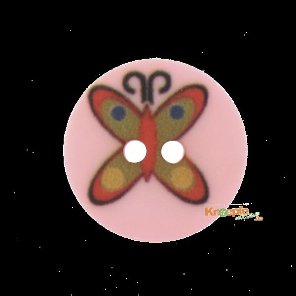 Kinderknopf `Schmetterling`- Rosa