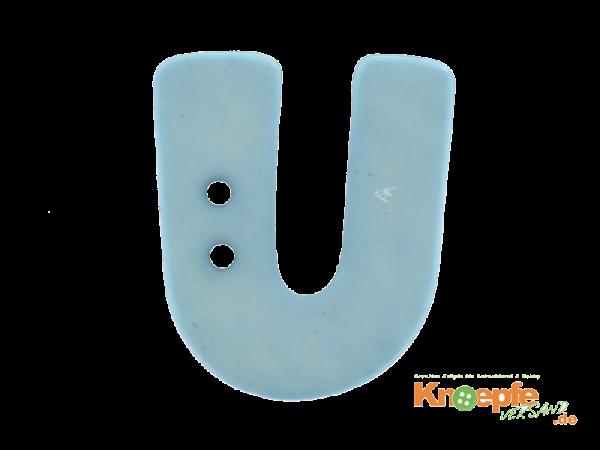 Buchstabenknopf U - hellblau