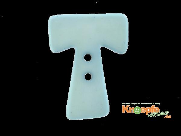 Buchstabenknopf T - hellblau