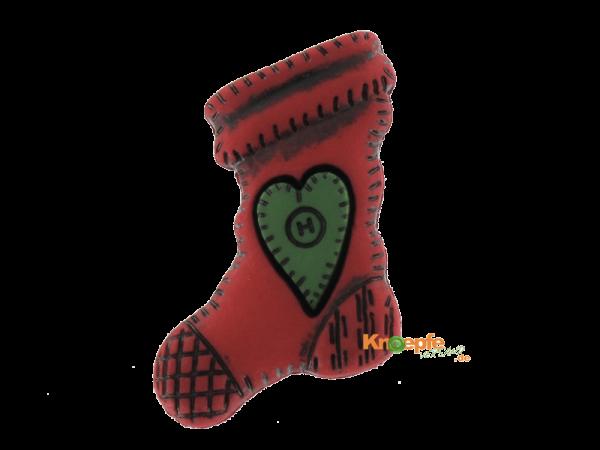 Weihnachtsknopf `Socke mit grünem Herz`