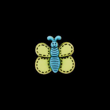 Kinderknopf `Schmetterling`- Grün/Blau