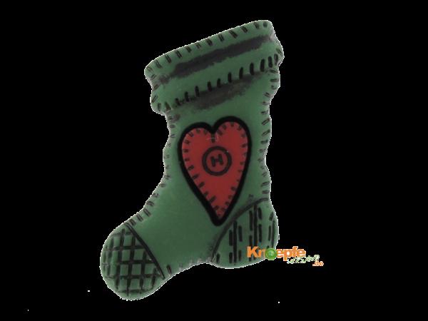 Weihnachtsknopf `Socke mit rotem Herz`