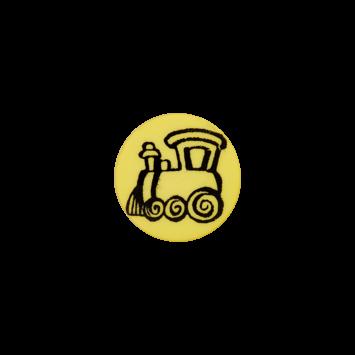 Kinderknopf - Lokomotive, Gelb