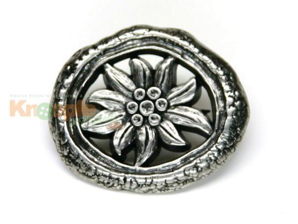 Trachtenknopf `Oval mit Edelweiss`, 25mm
