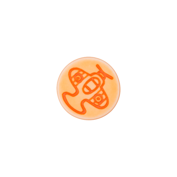 Kinderknopf `Flugzeug`- Orange