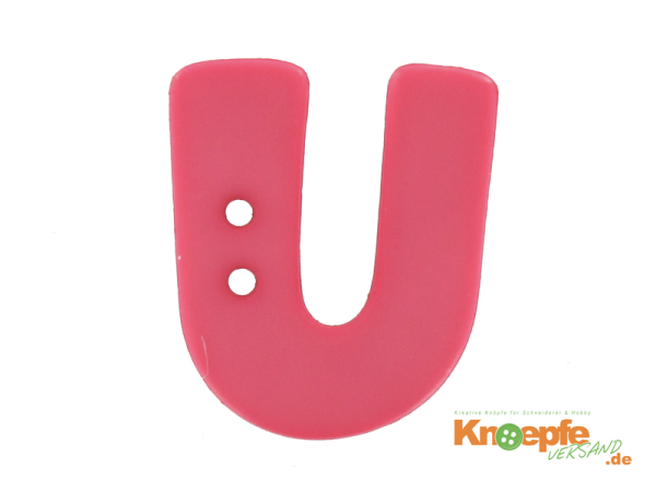 Buchstabenknopf U - pink