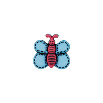 Kinderknopf `Schmetterling`- Hellblau/Pink