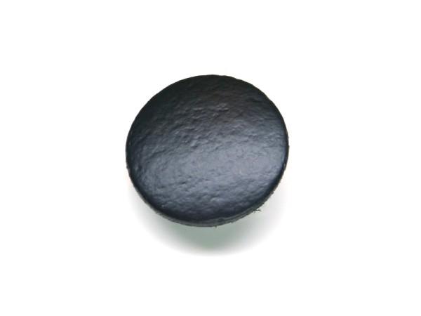 Lederknopf `glatt, schwarz, 15mm