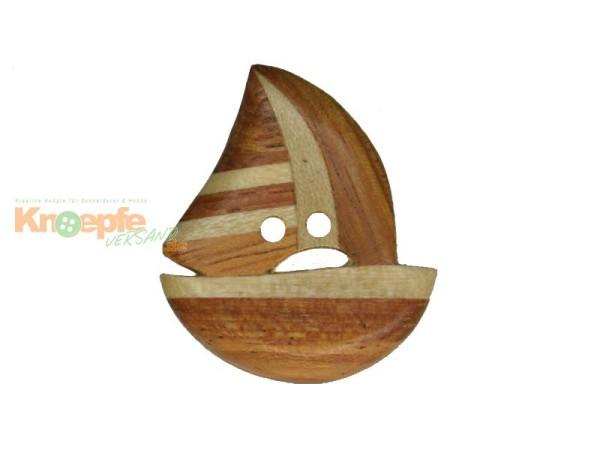 Holzknopf `Segelboot`