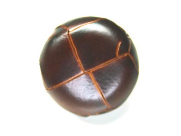 Lederknopf `geflochten, braun, 23mm`