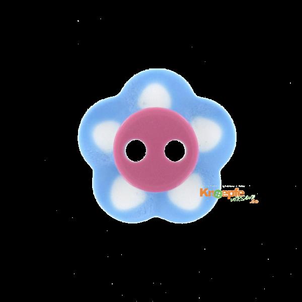 Kinderknopf `Blümchen`- Blau