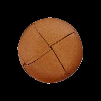Lederknopf `geflochten, mittelbraun`, 20mm