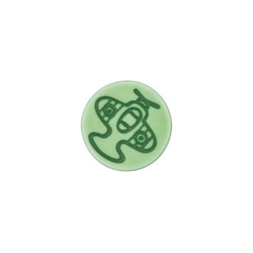 Kinderknopf `Flugzeug`- Grün