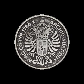 Münzknopf `burg co Tyr 1780 archid aust dux`, 15mm