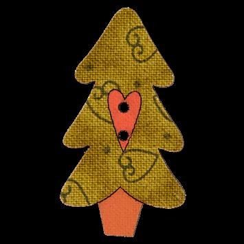 Holzknopf `Tannenbaum mit Herz`- 38mm
