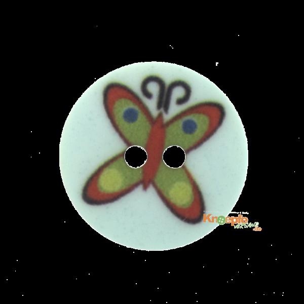Kinderknopf `Schmetterling`- Türkis