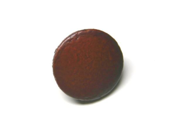 Lederknopf `glatt, braun, 15mm`
