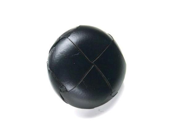 Lederknopf `geflochten, schwarz, 20mm`