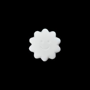 Kinderknopf `Sonne mit Gesicht`- Weiß