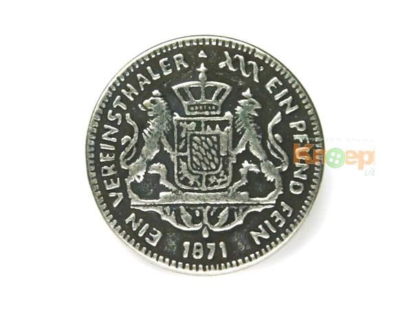 Metallknopf `Vereinsthaler 1871`, 25mm