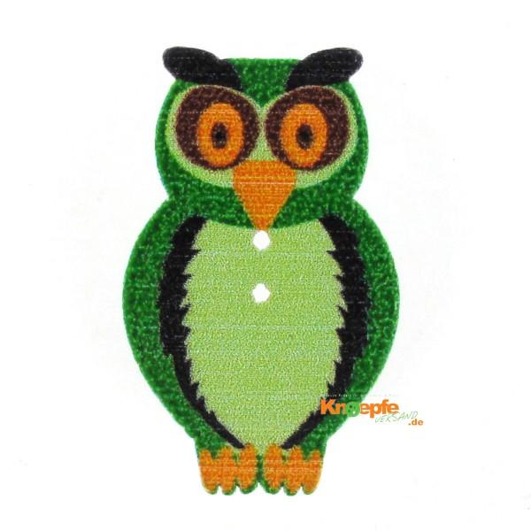 Holzknopf `Eule` - Grün