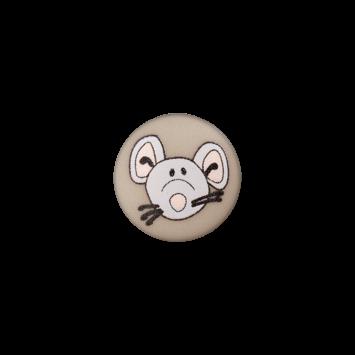Kinderknopf`Maus`, grau-braun