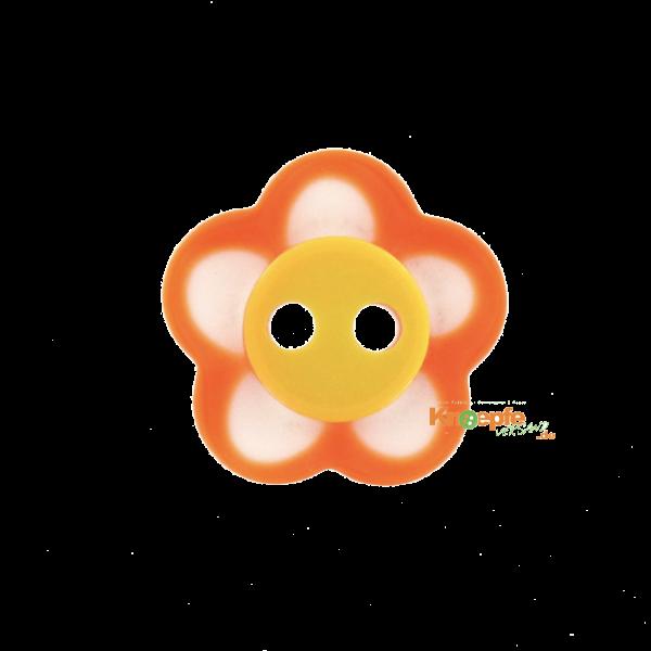 Kinderknopf `Blümchen`- Orange