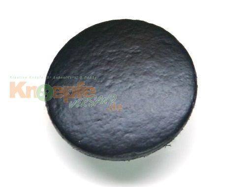 Lederknopf `glatt, schwarz, 23mm