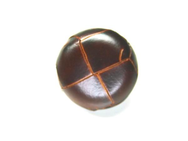 Lederknopf `geflochten, braun, 18mm`