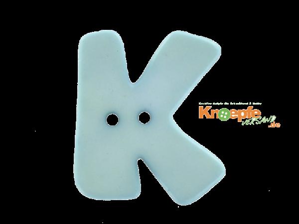 Buchstabenknopf K - hellblau