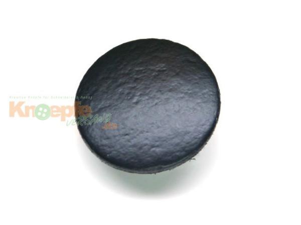 Lederknopf `glatt, schwarz, 20mm`