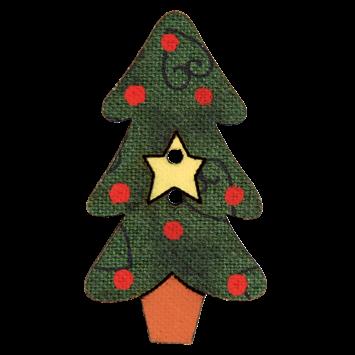 Holzknopf `Tannenbaum mit Stern`- 38mm