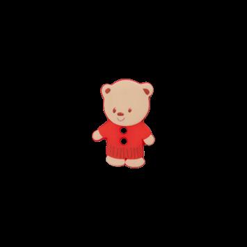 Kinderknopf `Bärchen`, rot