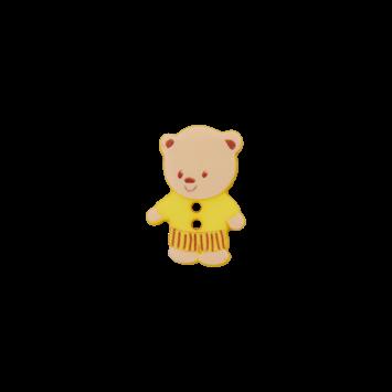 Kinderknopf `Bärchen`, gelb