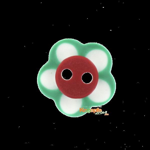 Kinderknopf `Blümchen`- Grün