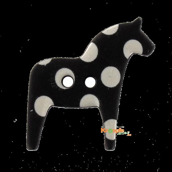 Kinderknopf - `Dala-Pferdchen`- Schwarz