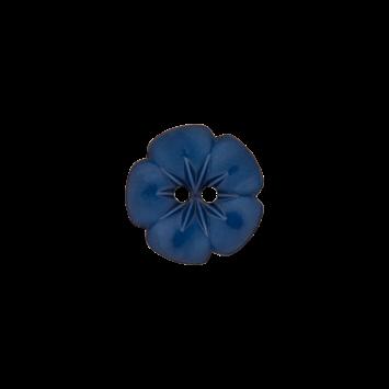Kinderknopf `Blume`, 15mm, dunkelblau