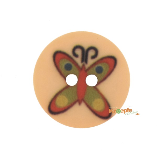 Kinderknopf `Schmetterling`- Orange