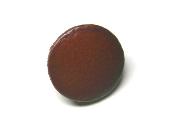 Lederknopf `glatt, braun, 20mm`