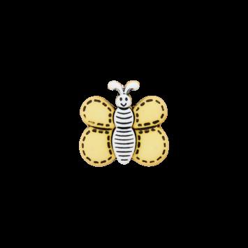 Kinderknopf `Schmetterling`- Gelb/Weiß