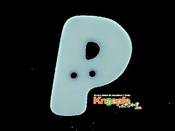 Buchstabenknopf P - hellblau