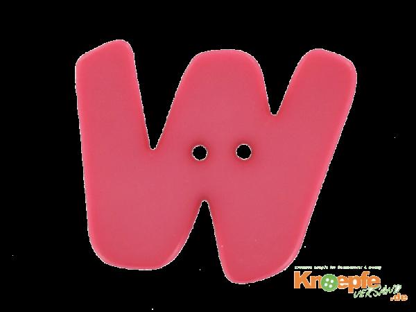 Buchstabenknopf W - pink