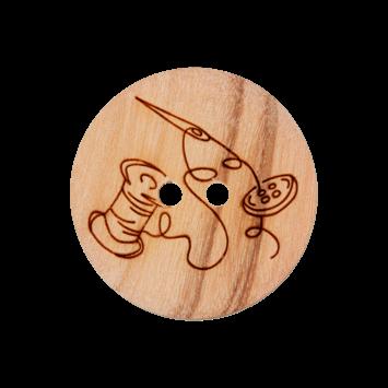Holzknopf `Nadel+Faden`