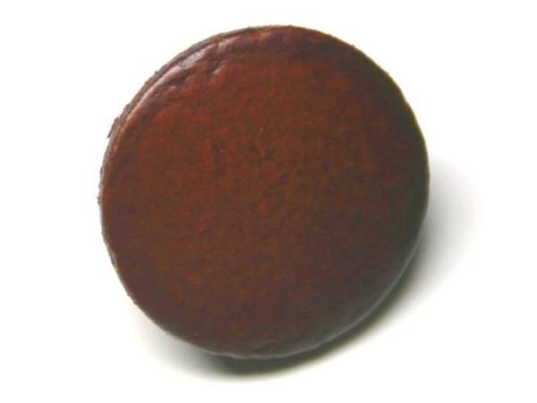 Lederknopf `glatt, braun, 25mm`