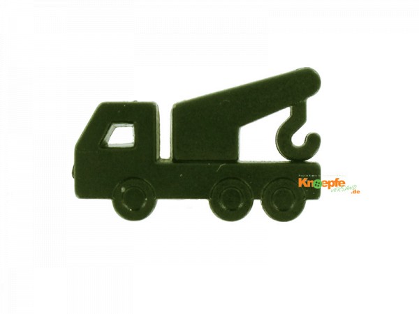 Kinderknopf - Kranwagen, Dunkelgrün
