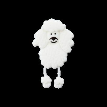 Kinderknopf - Pudel, Weiß