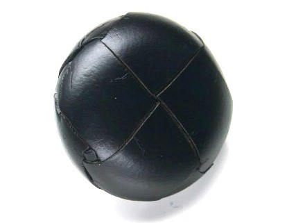 Lederknopf `geflochten, schwarz, 28mm`