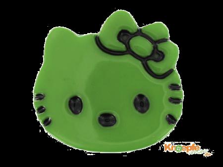 Kinderknopf `Katzenkopf`- Grün
